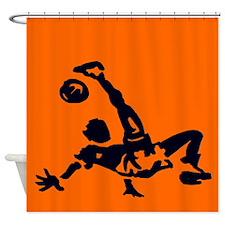 Douchegordijn oranje met donkerblauwe voetballer