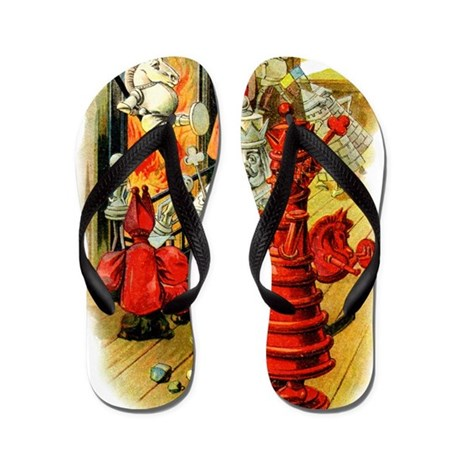 White King and Red Queen Flip Flops