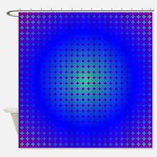 Blue Hoop Dots Full Fade Shower Curtain