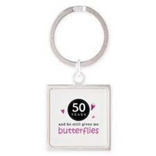 50th Anniversary Butterflies Square Keychain