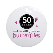 50th Anniversary Butterflies Ornament (Round)