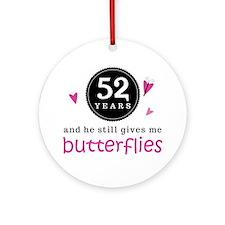 52nd Anniversary Butterflies Ornament (Round)