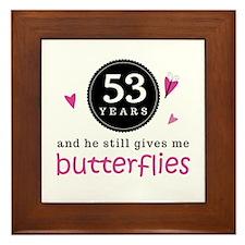 53rd Anniversary Butterflies Framed Tile