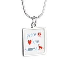 Siamese Cat Silver Square Necklace