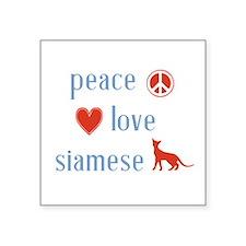 """Siamese Cat Square Sticker 3"""" x 3"""""""