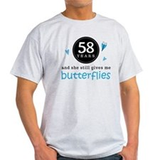 58 Year Anniversary Butterfly T-Shirt