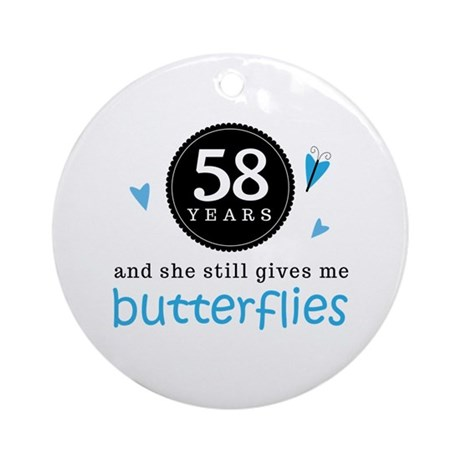 58 Year Anniversary Butterfly Ornament (Round)
