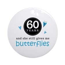 60 Year Anniversary Butterfly Ornament (Round)