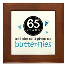 65 Year Anniversary Butterfly Framed Tile