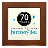 70th wedding anniversary tile Framed Tiles
