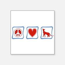 Peace Love Siamese Cats squares Sticker