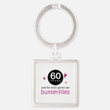 60th Anniversary Butterflies Square Keychain
