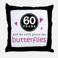 60th Anniversary Butterflies Throw Pillow