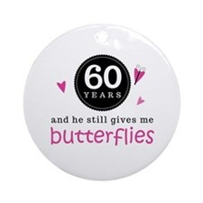 60th Anniversary Butterflies Ornament (Round)