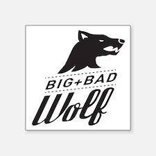 """B&W Big Bad Wolf Square Sticker 3"""" x 3"""""""