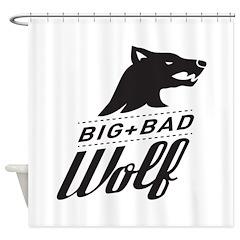 B&W Big Bad Wolf Shower Curtain