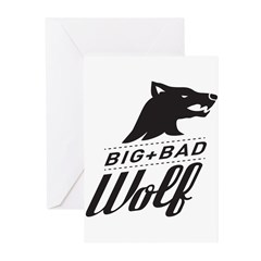 B&W Big Bad Wolf Greeting Cards (Pk of 10)
