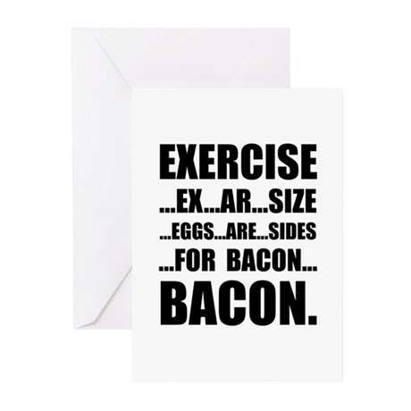 Exercise Bacon Greeting Cards (Pk of 20)