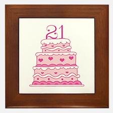 21st Anniversary Cake Framed Tile