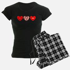 I Love You Heart Trio 23 Red Blue Designer Pajamas