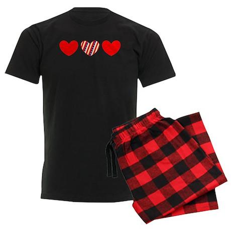 Red Blue Valentines Day Heart 23 Designer Pajamas