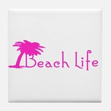 Beach Life (Pink) Tile Coaster
