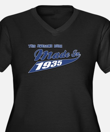 Made in 1935 Women's Plus Size V-Neck Dark T-Shirt