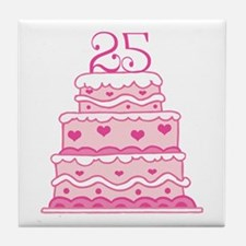 25th Anniversary Cake Tile Coaster