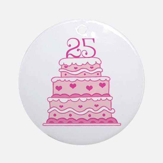 25th Anniversary Cake Ornament (Round)