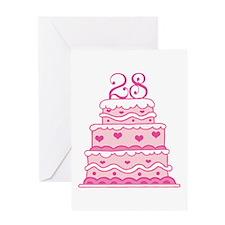 28th Anniversary Cake Greeting Card