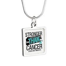 Stronger Than Cervical Cancer Silver Square Neckla