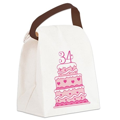34th Anniversary Cake Canvas Lunch Bag