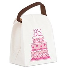 35th Anniversary Cake Canvas Lunch Bag