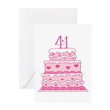 41st Anniversary Cake Greeting Card