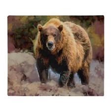Grizzly Brown Bear Camo Throw Blanket
