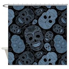 Blue Sugar Skulls Shower Curtain