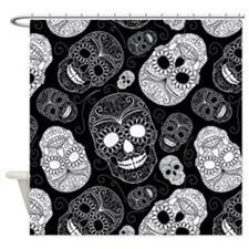 White Sugar Skulls Shower Curtain