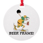 Beer Frame Bowling Round Ornament