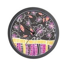 Floral Stripe Wall Clock