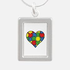Autism Puzzle Silver Portrait Necklace