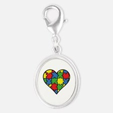 Autism Puzzle Silver Oval Charm