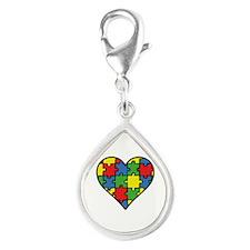 Autism Puzzle Silver Teardrop Charm