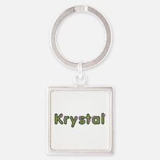 Krystal Spring Green Square Keychain