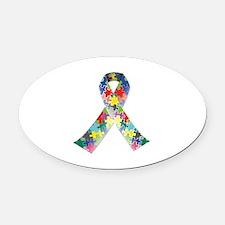 Autism Awareness Ribbon Oval Car Magnet