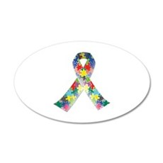 Autism Awareness Ribbon 22x14 Oval Wall Peel