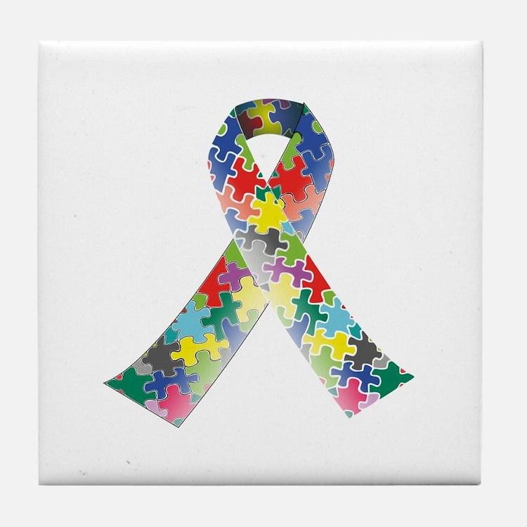 Autism Awareness Ribbon Tile Coaster