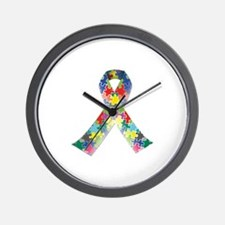 Autism Awareness Ribbon Wall Clock