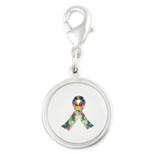 Autism Awareness Ribbon Silver Round Charm