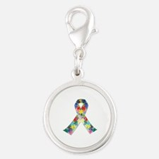 Autism Awareness Ribbon Silver Round Charm
