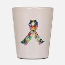 Autism Awareness Ribbon Shot Glass